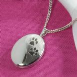 Pawprints Pet Memorial Silver Locket, personalised ref. SPPL